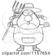 Cartoon Clipart Of A Black And White Plump Female Farmer With A Pitchfork Vector Outlined Coloring Page