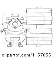 Cartoon Clipart Of A Black And White Plump Female Farmer Standing By Blank Signs Vector Outlined Coloring Page
