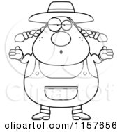 Cartoon Clipart Of A Black And White Plump Female Farmer Shrugging Vector Outlined Coloring Page