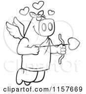 Cartoon Clipart Of A Black And White Flying Pig Cupid With Hearts And An Arrow Vector Outlined Coloring Page