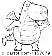 Cartoon Clipart Of A Black And White Big Dragon Waving Vector Outlined Coloring Page