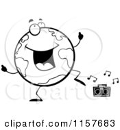 Cartoon Clipart Of A Black And White Globe Doing A Happy Dance Vector Outlined Coloring Page