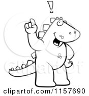 Cartoon Clipart Of A Black And White Big Dinosaur Standing On His Hind Legs Holding His Finger Up With An Idea Vector Outlined Coloring Page