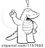 Cartoon Clipart Of A Black And White Exclaiming Alligator Vector Outlined Coloring Page by Cory Thoman