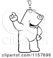Cartoon Clipart Of A Black And White Big Mole Standing Upright With An Idea Vector Outlined Coloring Page by Cory Thoman