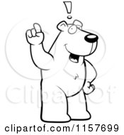 Cartoon Clipart Of A Black And White An Exclaiming Polar Bear Vector Outlined Coloring Page by Cory Thoman