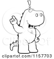 Cartoon Clipart Of A Black And White Big Tyrannosaurus Rex Standing On His Hind Legs Holding His Finger Up With An Idea Vector Outlined Coloring Page