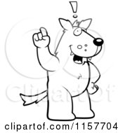 Cartoon Clipart Of A Black And White Big Wolf Standing On His Hind Legs Holding His Finger Up With An Idea Vector Outlined Coloring Page