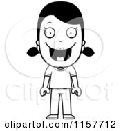 Cartoon Clipart Of A Black And White Happy Girl Vector Outlined Coloring Page
