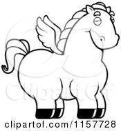 Cartoon Clipart Of A Black And White Chubby Pegasus Vector Outlined Coloring Page by Cory Thoman