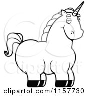 Cartoon Clipart Of A Black And White Chubby Unicorn Vector Outlined Coloring Page