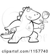 Cartoon Clipart Of A Black And White Romantic Dinosaur Presenting A Rose Vector Outlined Coloring Page