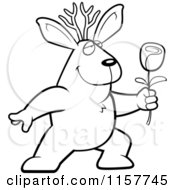 Cartoon Clipart Of A Black And White Romantic Jackalope Presenting A Rose Vector Outlined Coloring Page