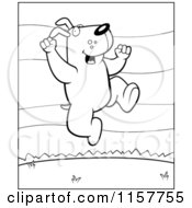 Cartoon Clipart Of A Black And White Happy Dog Jumping Outdoors Vector Outlined Coloring Page