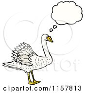 Cartoon Of A Thinking Swan Royalty Free Vector Illustration
