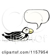 Cartoon Of A Talking Puffin Bird Royalty Free Vector Illustration by lineartestpilot