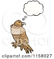 Cartoon Of A Thinking Hawk Royalty Free Vector Illustration