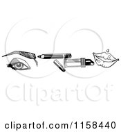 Clipart Of A Sketched Black And White Beauty Border Of An Eye Makeup Pencil Lipstick And Lips Royalty Free Illustration