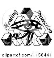 Clipart Of A Sketched Black And White Eye Of Horus Royalty Free Illustration