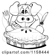 Clipart Of A Sketched Black And White Hungry Pig And Pie Royalty Free Illustration