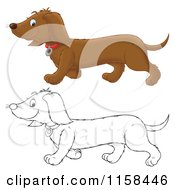 Cartoon Of A Outlined And Colored Happy Doxie Dog Walking Royalty Free Illustration