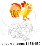 Cartoon Of A Colored And Outlined Crowing Rooster Royalty Free Illustration by Alex Bannykh