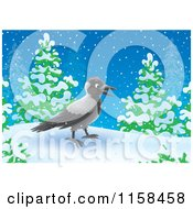 Cartoon Of A Crow In The Snow Royalty Free Illustration by Alex Bannykh