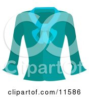 Turquoise Blue Long Sleeved Shirt Clipart Picture