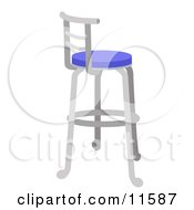 Metal Stool With A Blue Seat Clipart Illustration