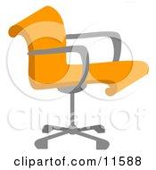 Orange Desk Chair Clipart Illustration