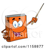 Cartoon Of A Happy Orange Book Mascot Holding A Pointer Stick Royalty Free Vector Clipart