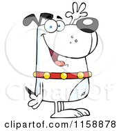 Happy White Dog Standing Upright And Waving by Hit Toon