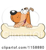 Happy Brown Dog Smiling Over A Bone Sign by Hit Toon