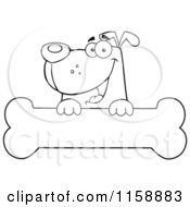 Cartoon Of A Happy Outlined Dog Smiling Over A Bone Sign Royalty Free Vector Clipart
