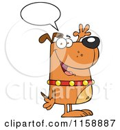 Cartoon Of A Happy Talking Brown Dog Standing Upright And Waving Royalty Free Vector Clipart