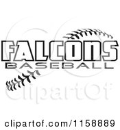 Clipart Of Black And White Falcons Baseball Text Over Stitches Royalty Free Vector Illustration