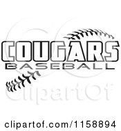 Clipart Of Black And White Cougars Baseball Text Over Stitches Royalty Free Vector Illustration