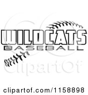 Clipart Of Black And White Wildcats Baseball Text Over Stitches Royalty Free Vector Illustration