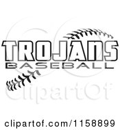 Clipart Of Black And White Trojans Baseball Text Over Stitches Royalty Free Vector Illustration