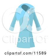 Long Blue Ladies Coat Clipart Picture