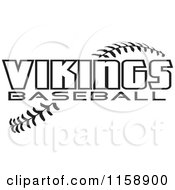 Clipart Of Black And White Vikings Baseball Text Over Stitches Royalty Free Vector Illustration