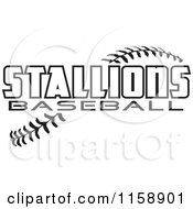Clipart Of Black And White Stallions Baseball Text Over Stitches Royalty Free Vector Illustration