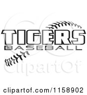 Clipart Of Black And White Tigers Baseball Text Over Stitches Royalty Free Vector Illustration
