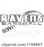 Clipart Of Black And White Ravens Baseball Text Over Stitches Royalty Free Vector Illustration