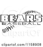 Clipart Of Black And White Bears Baseball Text Over Stitches Royalty Free Vector Illustration