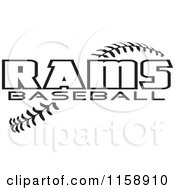Clipart Of Black And White Rams Baseball Text Over Stitches Royalty Free Vector Illustration