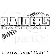 Clipart Of Black And White Raiders Baseball Text Over Stitches Royalty Free Vector Illustration