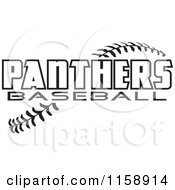 Clipart Of Black And White Panthers Baseball Text Over Stitches Royalty Free Vector Illustration
