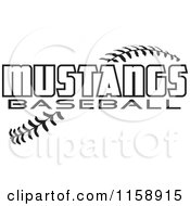 Clipart Of Black And White Mustangs Baseball Text Over Stitches Royalty Free Vector Illustration
