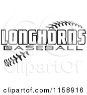 Clipart Of Black And White Longhorns Baseball Text Over Stitches Royalty Free Vector Illustration